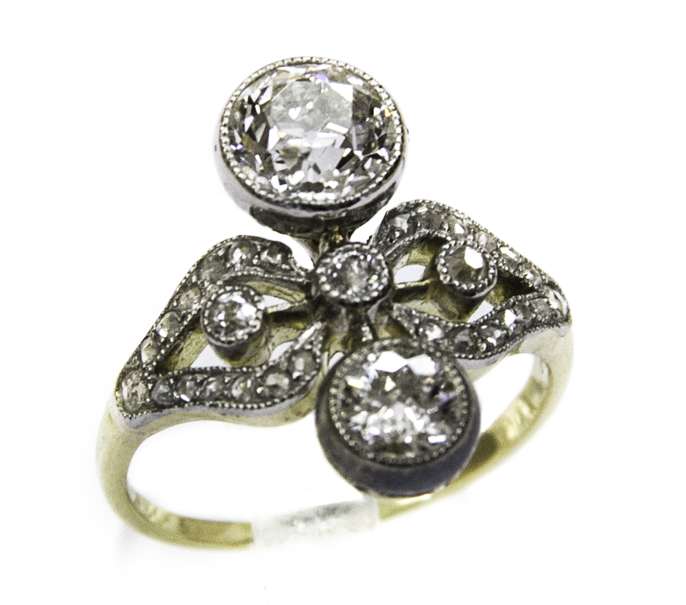 incontrare 29c18 16823 Anello liberty in oro e platino con diamanti - XX secolo ...